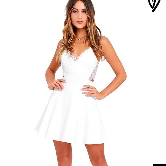 e54b5f3a98 LuLu s White Lace Skater Dress